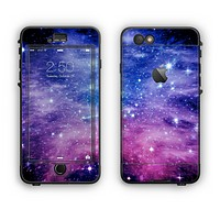 The Purple and Blue Scattered Stars Apple iPhone 6 LifeProof Nuud Case Skin Set
