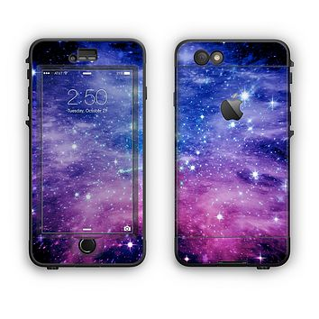 The Purple and Blue Scattered Stars Apple iPhone 6 Plus LifeProof Nuud Case Skin Set