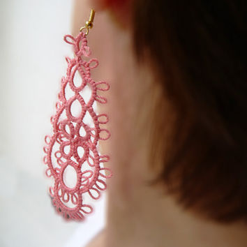Tatting Earrings  Coral - tatting shuttle - for women - gift for her- party cocktail