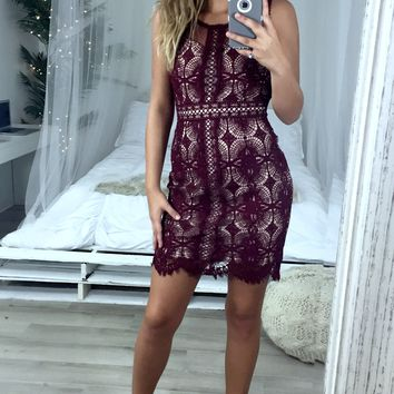 Uptown Wine Lace Dress With Cut Out Detail