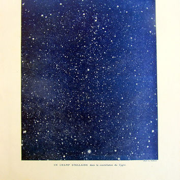 1923 Vintage Starfield astronomy print, original antique stars of Cygnus constellation color lithograph, universe sky cosmos plate.