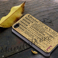 Disneyland E Ticket Disney Cover - iPhone 4 4S iPhone 5 5S 5C and Samsung Galaxy S3 S4 Case