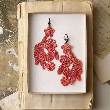 lace earrings ADY by whiteowl on Etsy