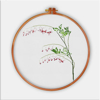 Bleeding Heart Flower cross stitch pattern, modern cross stitch pattern, natural cross stitch pattern, flower pattern, unique pattern, pdf