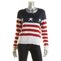 Rebellious One Womens Juniors Metallic American Flag Pullover Sweater