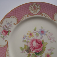 Dinner Plate / Shabby Pink Rose by Myott Staffordshire England/ Vintage Shabby Chic Cottage Dishes by Feisty Farmers Wife