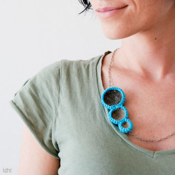 Crochet circles necklace with fabrics Turquoise by idniama on Etsy