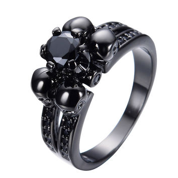 Black Stone Skull Engagement Ring