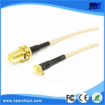Competitive price antenna cable MMCX male right angle to RP-SMA female with 100MM RG178 cable for Wireless LAN Devices