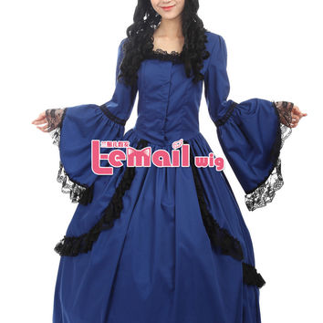Classic Princess Victorian Prom Dress Blue Red Lolita Gothic Dress Halloween Costumes For Women Adult Customized