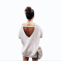 Loose large size light gray sweater women