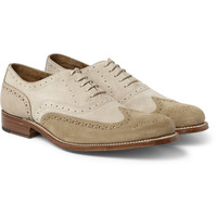 Grenson - Dylan Suede and Nubuck Longwing Brogues   MR PORTER