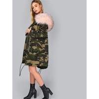 Camouflage Print Pink Faux Fur Collar Coat
