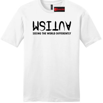 Autism Seeing The World Differently Mens Soft T Shirt Autism Awareness Tee Z2