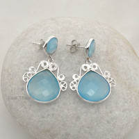 Blue Chalcedony 17mm, and Round, 10mm Handmade Designer Silver Earring - #6001