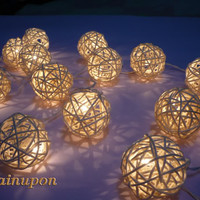 20 WHITE RATTAN BALL STRING PARTY,PATIO,FAIRY,DECOR,CHRISTMAS,WEDDING LIGHTS