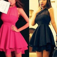 【Christmas gift】Women's Chiffon Dress Ladies Slim Cute Sleeveless Skirt Party sleeveless = 1946465668