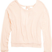 Bow-Back Sweater Knit Long-Sleeve Top - Pink Multi