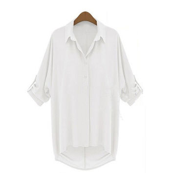 Womens Casual Short Sleeve Down Collar Oversize Loose Chiffon T Shirt Top Blouse = 1945698180