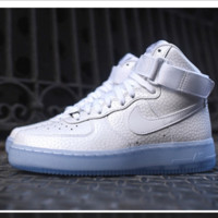 NIKE Women Men Running Sport Casual Shoes Sneakers Air force High tops Scale White