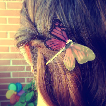 Pink Butterfly hair clip, woodland hair, Monarch Butterfly, butterfly hair accesory, Butterfly hair piece, Bridal Bridesmaid hair accessory
