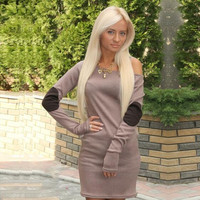 Winter Long Sleeve Round-neck Slim Sexy T-shirts Women's Fashion One Piece Dress [6368736452]