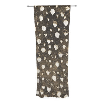 "Iris Lehnhardt ""Dots Grunge"" Brown White Decorative Sheer Curtain"