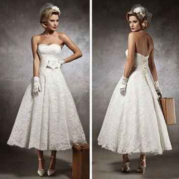 Vestido de noiva 2016 new style lace Flower Vintage Short Lace Wedding Dresses bride gowns robe de mariage custom made plus size