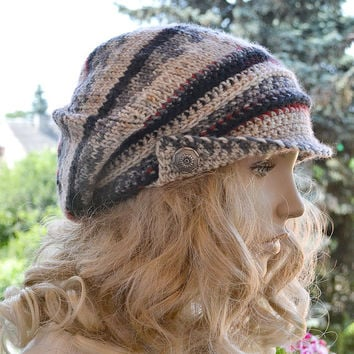 Knitted and Crocheted PEAKED Cap beanie Slouchy Winter Fashion , very warm, rainbow, women slouchy hat,Girls Hat,unique gifts aut