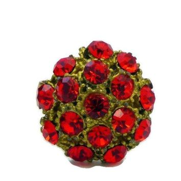 Red Rhinestone Brass Adjustable Cluster Cocktail Ring