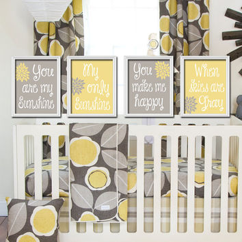 Yellow Gray - You Are My Sunshine Set of 4 Wall Art Decor Prints Poster Baby Nursery Child Kid Room Typography