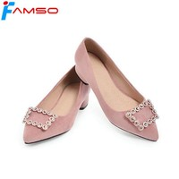 FAMSO Size34-43  2018 New Elegant Style 6Colors Pumps Shoes Pointed Toe Rhinestone Shoes Gold Silver glitter Basic Pumps Shoes