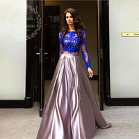 Royal Blue Lace Top Two 2 Pieces Prom Dresses Long Sleeves Shiny Satin Evening Gowns 2017 Women Formal Graduation Party Dress