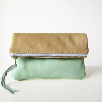 Leather clutch, Leather pouch, Zippered pouch , Fold over clutch bag, Tan and mint, Pastel, Leather clutch bag, Small purse