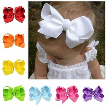 20pcs/lot 6 Inch Large Kids Baby Girl Grosgrain Ribbon Bow Clips DIY Headdress Children Hair Accessories 588