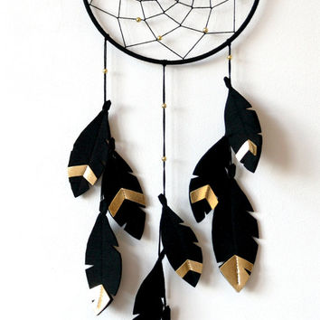 Black and Gold dreamcatcher, Minimalist Dream Catcher, Dream Catcher Wall Hanging, Black Gold Nursery, Monochrome Dream catcher