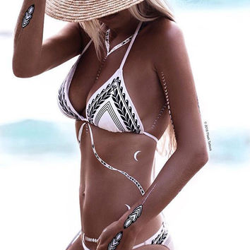 Wheat Priting Bathingsuit Arrow Bikini Set Swimwear