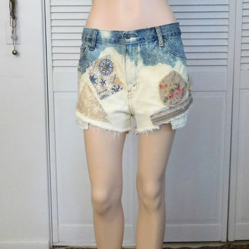 Patchwork Patched Jean Shorts Upcycled High Waisted Beach Bohemian Hippie Gypsy Indie Style Festival Denim Bleached Waist 36 XL Size 14 16