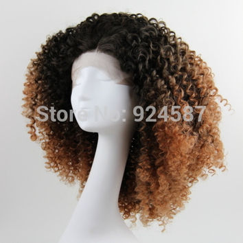 FREE SHIPPING short heat resistant afro kinky curl two tone ombre black to brown glueless synthetic lace front wig/natasha wig-M