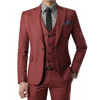 Doublju Men's 1 Button Suit Blazer Jacket Matte Darkred (KMOBL034)