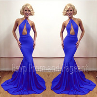 Sexy Mermaid Prom Dresses 2016 Off The Shoulder Halter Fashion Stretch Satin Royal Blue Long Prom Dress