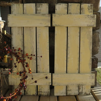 Distressed Wood Shutters Set of 2 - Shabby Cottage, Rustic, Farmhouse, Upcycled