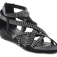 Black Satin Bling Strappy Gladiator Evening Wedge Sandals