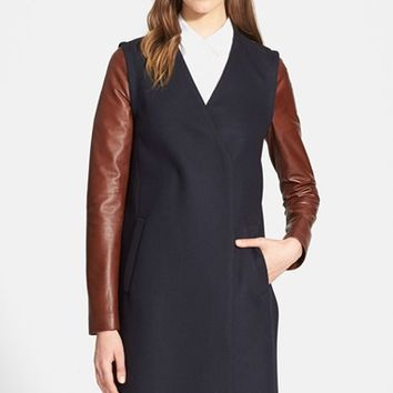 Women's Theory 'Quennel' Wool Blend Coat with Leather Sleeves