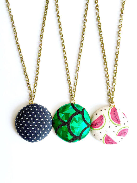 Wholesale fabric button necklaces etsy from rubenabird on etsy for Bulk jewelry chain canada