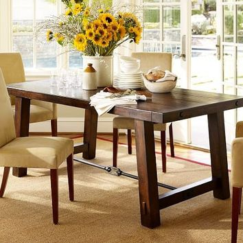 Benchwright Fixed Dining Table - Rustic Mahogany stain