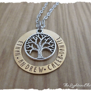 Personalized BRASS Hand Stamped Necklace  Mom Grandma  Gift for her  Tree of Life  Mother's Necklace  Grandmother Necklace  Baby Shower Gift