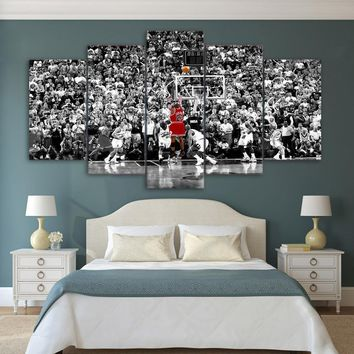 5 Panel Chicago Bulls Michael Jordan 23 Wall Art Canvas Painting For Living Room No Framed