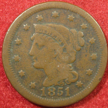 1851 Large Cent, Copper Penny, Large Cent Coin, Liberty Head Penny, Collectible Coin, USA Large Cent, Large Penny Coin, Large Copper Cent