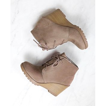 Not So Far Fetched Lace-Up Wedge Ankle Booties in Taupe